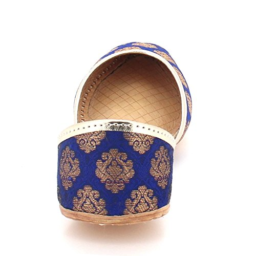 Ladies Flat Blue Size On Ethnic Womens Pumps Leather Slip Jutti Indian Handmade Traditional Shoes Khussa LONDON Mojari Bridal AARZ Navy qTEH88