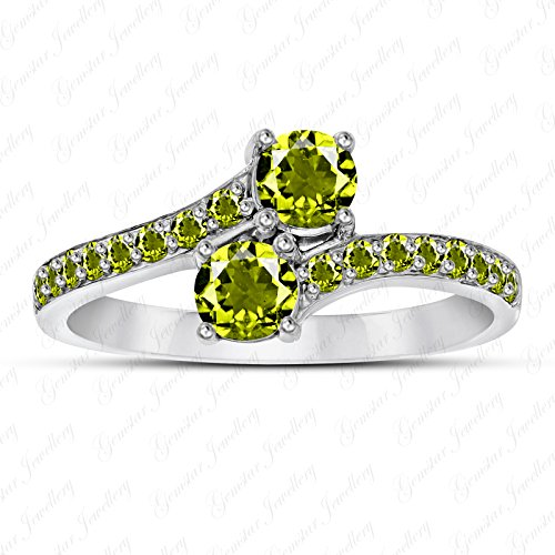 Gemstar Jewellery Round 1.59 Carat Green Peridot Two Stone Bypass Ring Solid 14K White Gold Finish