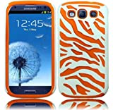 White Orange Zebra Dual Flex Hard Hybrid Gel Case Cover For Samsung Galaxy S3 i9300 (AT&T, T-Mobile, Sprint, Verizon)
