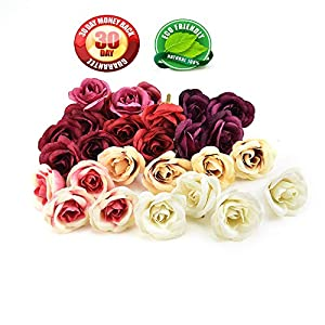 30pcs 4cm Silk Rose Artificial Flowers Wedding Home Furnishings DIY Wreath Sheets Handicrafts Simulation Fake Flowers (Multicolor) 42