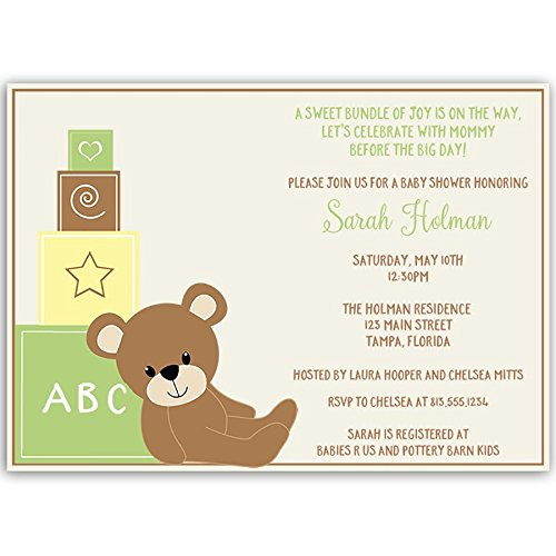 (Teddy Bear Baby Shower Invitations Birthday Party Invites Customize Traditional Brown Green Yellow Gender Neutral Team Green Cub Sprinkle Invites Toy Blocks Nursery Stuffed Animal (10 Count))