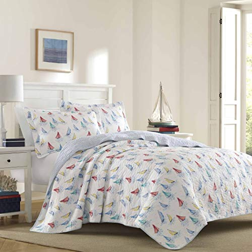 3pc Nautical Blue White Red Yellow King Quilt Set, Cotton, Sailboat Vintage Themed Bedding Classic Beach Colorful Cottage Cabin Seaside Shabby Chic Retro Coastal Motif Antique