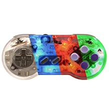 Retro-Link Wired SNES Style USB Controller Blue/Red/Green LED On-Off Switch and Dimmer