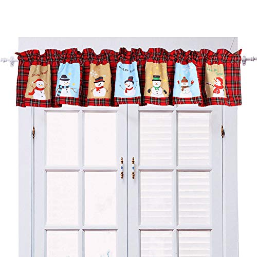 AerWo Snowman Window Valance Christmas Curtains 71 x 14 inch Red Plaid Christmas Valance for Holiday Home Decorations