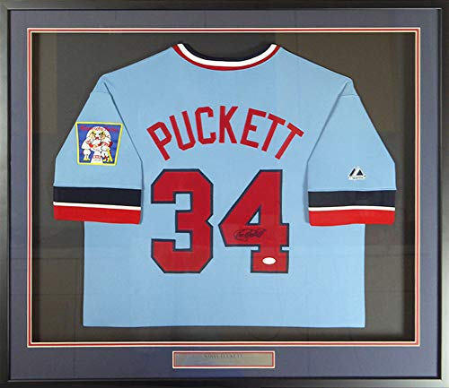 Kirby Puckett Autographed Framed Majestic Cooperstown Minnesota Twins Jersey JSA Stock - Jerseys Minnesota Twins Autographed