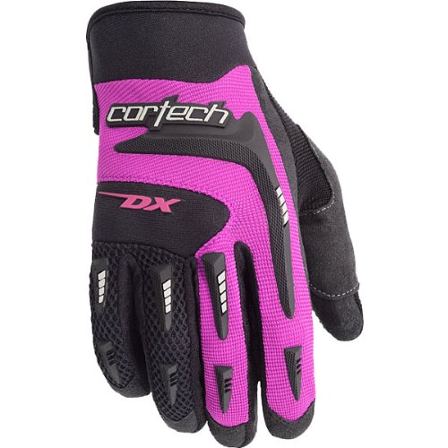 Cortech DX 2 Women's Textile Sports Bike Racing Motorcycle Gloves - Black/Pink / Large