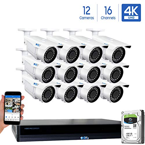 GW 16 Channel 4K NVR 8MP 3840×2160 H.265 PoE Security Camera System – 12 x UltraHD 4K 2.7 13.5mm Varifocal Zoom 196ft IR 2160p IP Cameras – 8 Megapixel Four Times The Resolution of 1080p Full HD