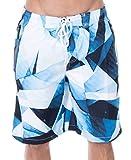 ZENCO Men's Jayden Triangle Geo Print Elastic Waistband Swim Trunks, Blue, M