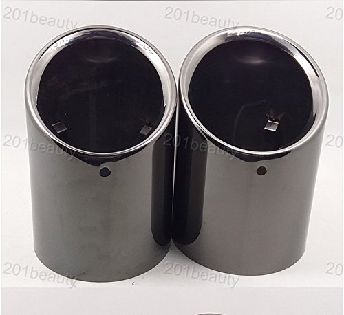 2pcs Black Color Stainless Steel Exhaust Muffler Rear Tail Pipe Tip Tailpipe Extension Pipes Custom Fit for BMW 5 Series F10 F18 2009 2010 2011 2012 2013 2014 2015 2016 2017 2018 2019 2020 ()