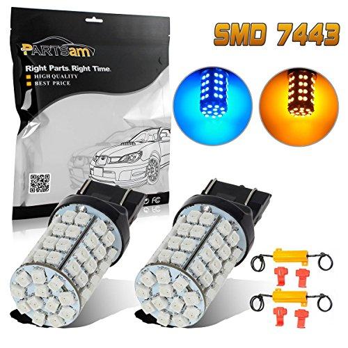 - Partsam 2PCS/1SET 7443 7440 60-3528-SMD Switchback Blue Amber LED Front Turn Signal Light Bulbs + Load Resistors