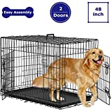 Dog Crate Dog Cage Kennel for Large Medium Dogs 48 Inches Pet Playpen Folding Indoor Outdoor Double Door Travel Metal Dog Pen with Plastic Tray