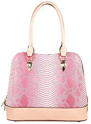 (Derica Python Embossed Pattern Faux Leather Satchel Shoulder Hand Bag - Pink)