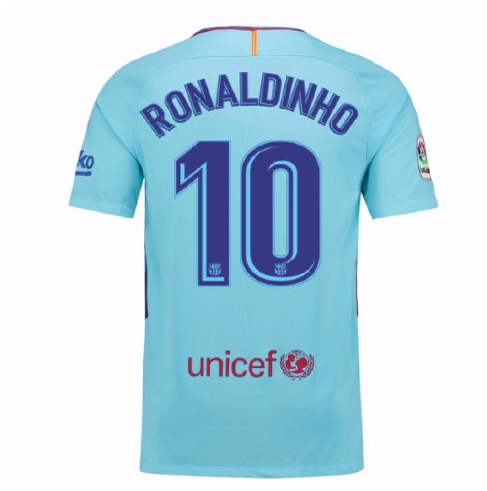 2017-2018 Barcelona Away Football Soccer T-Shirt Trikot (Ronaldinho 10)