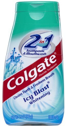 Colgate 2-in-1 Toothpaste & Mouthwash, Whitening Icy Blast, 4.6-Ounce Tubes (Pack of 6)