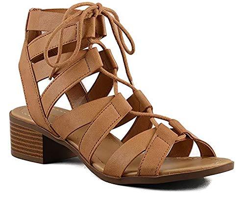 MVE Shoes Criss Cross Laces Blocked Heel Open Toe Sandal, Mousse tan 11 ()