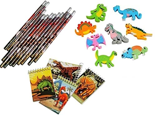 J&J's ToyScape Party Favor Pack - Dinosaur Erasers, Mini Notebooks & Pencils (Pack of 36; 12 Pcs Each) Cute Dinosaur Stationary Ideal Birthday Party Favors, Goody Bag ()