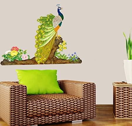 3289ee6f2a5 Instylewall Home Decoration Mural Vinyl Wall Sticker Proud Beautiful Peacock  Colorful Flowers Kids Nursery Room Wall Art Decal Paper  Amazon.co.uk   Kitchen ...