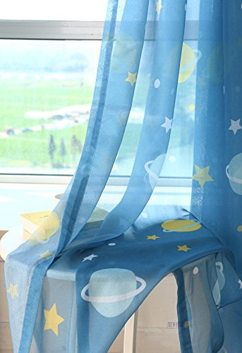 WPKIRA Kids Room Planet Stars Printed Perspective Voile Tulle Sheer Curtains Drape Panel Window Treatments Rod Pocket Short Curtain for Girls Boys Bedroom Bay Window , 1 Panel Blue W39 x L47 inch