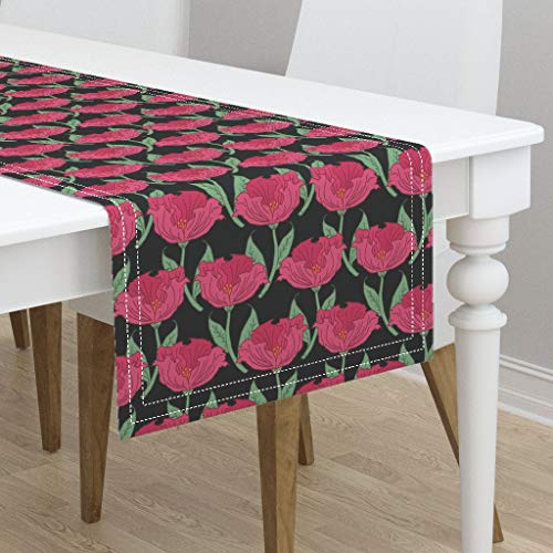 (Table Runner - Pink and Green Floral Bold Vintage Floral Poppy Rose Flower Floral Tulip Bloom by Pond Ripple - Cotton Sateen Table Runner 16 x 72)