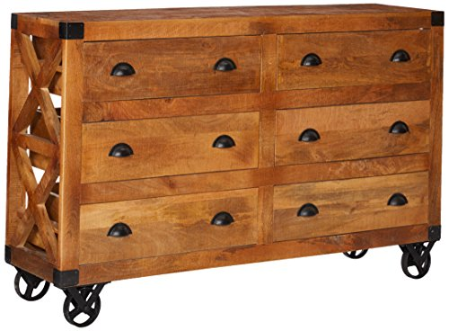 Coaster Home Furnishings 6-Drawer Accent Cabinet with Casters Natural Rough Mango