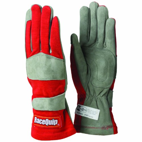 RaceQuip 351013 351 Series Medium Red SFI 3.3/1 One Layer Racing Gloves ()