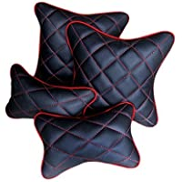 Pegasus Premium Black and Red Double Quilted Combo Set - Car Cushion Set + Car Neck Rests (Set of 4 Pieces) Maruti Baleno