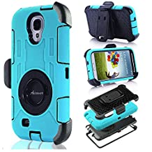 S4 Case, Galaxy S4, DLF Case Shock&drop-proof Amy-grade Protective Hard Defender with 360 Degree Rotating Ring Bracket Protective Case and Tpu Rubber & Silicone Case with Stand & Clip Three Layer Hard Shell Cover Holster for Samsung Galaxy S4 I9500 (Cyan)