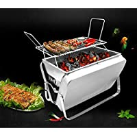 Outdoor Stainless Steel Briefcase BBQ Grill Picnic Camping Garden Backyard Fireplace Firepit Stove Patio Foldable BBQ Grill Tools Porcelain Grid (Silver)
