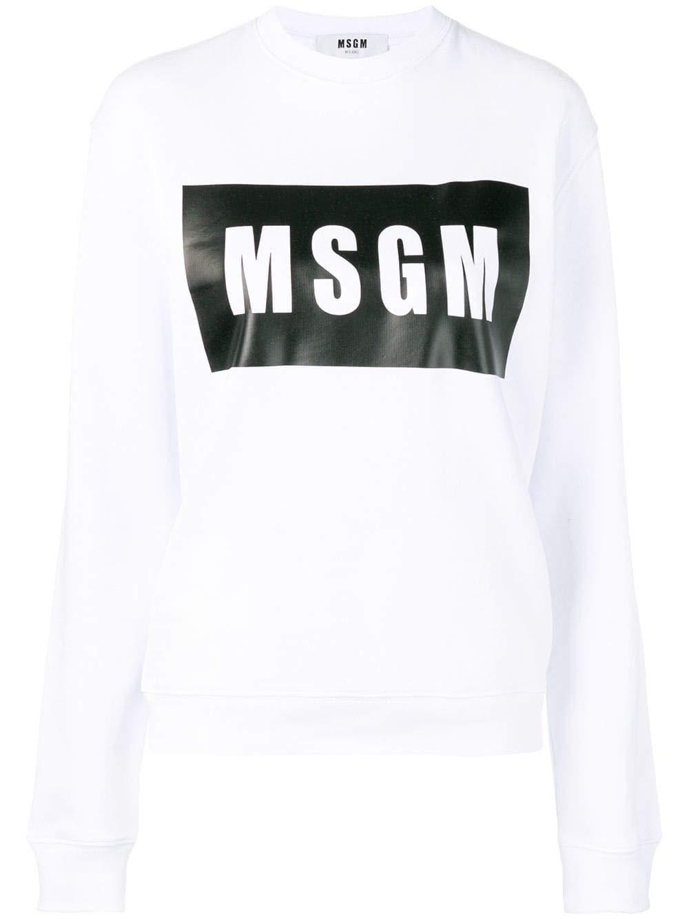 Msgm Women's 2641MDM9619529901 White Cotton Sweatshirt