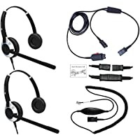 Headset Training Solution (Includes 2 x TruVoice HD-550 Deluxe Double Ear NC headsets with Training Cord and smart lead works on 95% of phones with RJ9 Headset Port)