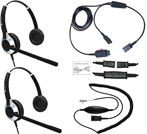 (Headset Training Solution (Includes 2 x TruVoice HD-550 Deluxe Double Ear headsets with Noise Canceling Microphone, Training Cord and Smart Lead Works on 95% of Phones with RJ9 / RJ11 Headset Port))