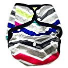 BB2 Baby One Size Printed Minky Minkee Snaps Cloth Diaper Cover for Prefolds (One Size, Gray Pink Blue Chevron)