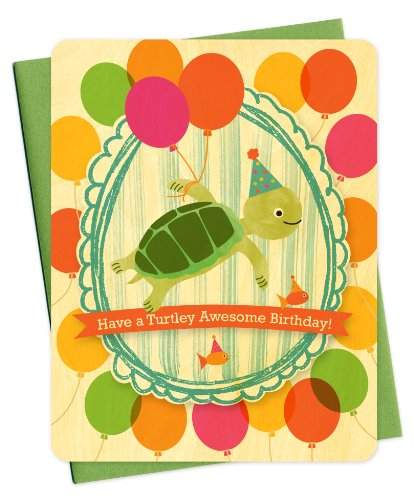 Turtle Portrait Wood Birthday Card by Night Owl Paper Goods