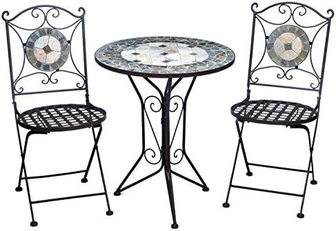 aubaho Conjunto Mesa y 2 sillas de Hierro baldosas de Mosaico Silla de Mesa de Estilo: Amazon.es: Jardín