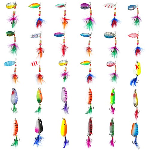 (AGOOL Fishing Lures Bait Kit Spinners Variety Kit Rooster Tail Trout Spinner Spoons Sharp Treble Hooks Fishing Tackle Kit)