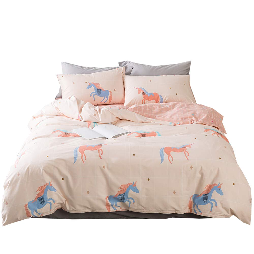 BuLuTu Unicorn Girls Duvet Cover Sets Queen Cotton 3 Pieces Kids Bedding Sets Full Pink Teens Zipper Closure,Love Gifts for Her,Daughter,Toddler,Sister,Friend,Family,NO Comforter,90''x90''