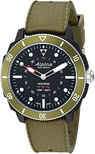 Alpina Men's Horological Smart Watch Stainless Steel Quartz Sport Rubber Strap, Green, 21.4 (Model: AL-282LBGR4V6)