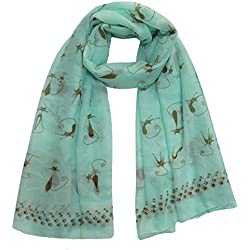 Lina & Lily Cat Kitten Print Scarf with Footprints Edges Large Size Lightweight (Mint)