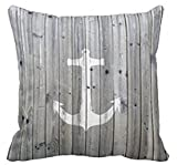 Vintage White Nautical Anchor on Gray Wood Square Decorative Throw Pillow Cover by Leiacikl22