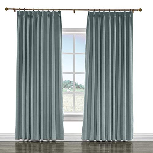 Liz Curtain (cololeaf Pinch Pleated Curtain Liz Faux Linen Curtains Drapery Panel for Traverse Rod Ring Clip or Track for Living Room Bedroom,Dark Grey 100W x 84L Inch (1 Panel))