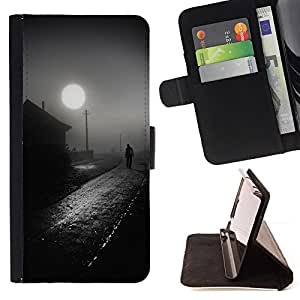 Ihec-Tech / Negro Flip PU Cuero Cover Case para HTC One M8 - Casa de Pueblo Negro Camino Blanco