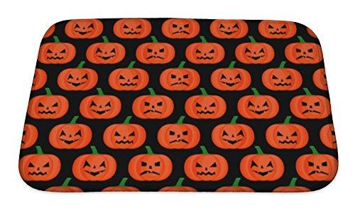 Gear New Bath Mat For Bathroom, Memory Foam Non Slip, Halloween Pumpkin Pattern Happy Halloween Concept Illustration On Black, 24x17, (New Halloween Pumpkin Carving Patterns)