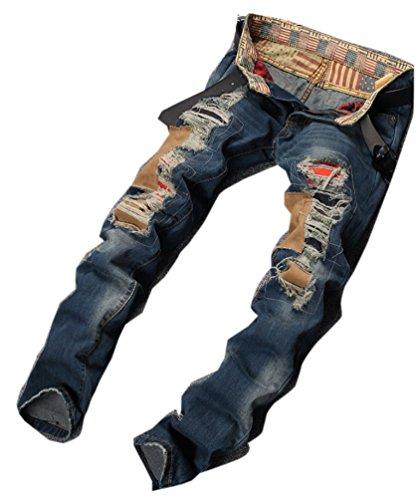 Ghope Homme Jeans Denim Pantalon Japan Style Vintage Trous Clubwear Chino Used Déchiré Cigarette