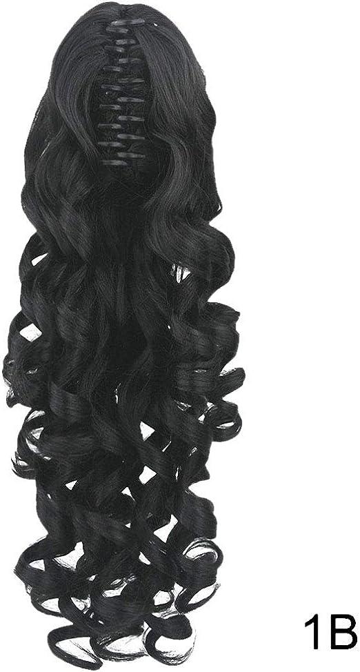 PrettyWit - Extensiones de cabello rizado con clip, 61 cm, pelo sintético, color negro azabache, 1B