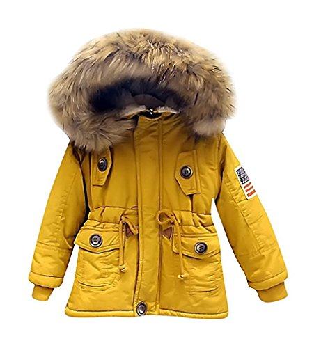 - Kids Boys Hooded Faux Fur Collar Coat Warm Parka Jacket Outerwear (5T, Yellow)