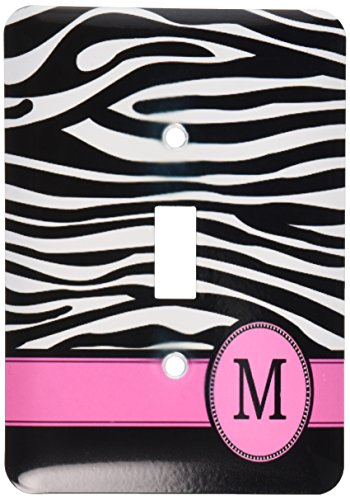 (3dRose lsp_154284_1 Letter M Monogrammed Black and White Zebra Stripes Animal Print with Hot Pink Personalized Initial Single Toggle Switch)