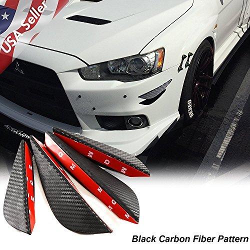 4pcs fibra de carbono patrón Bumper Lip aletas Canards Splitters Difusor, Black Carbon Fiber Pattern