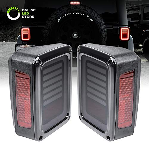 Smoked Lens LED Tail Light [Line & Halo Design] [120 LEDs] [Plug n Play] for 2007-2018 Jeep Wrangler JK & Unlimited – Pair