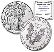 2021 1 oz Silver American Eagle Brilliant Uncirculated with our Certificate of Authenticity by CoinFolio $1 Mi