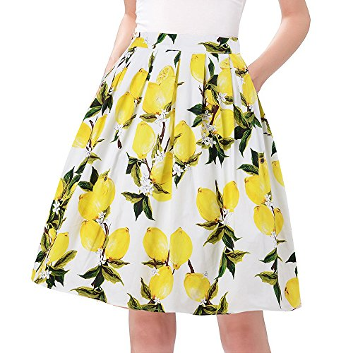 Taydey vintage Style Skater Skirts A-line Flared Cotton Size 3XL Yellow Lemon